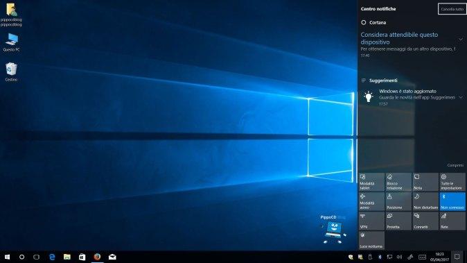 Windows 10 Creators Update centro notifiche