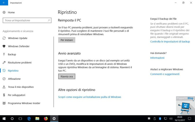 Windows 10 impostazioni ripristino
