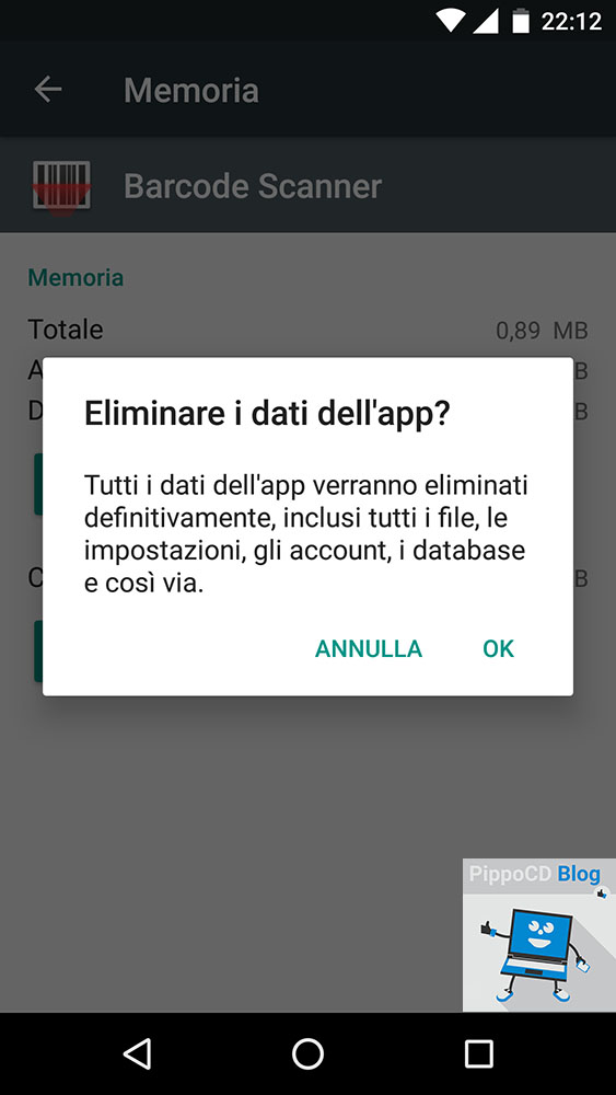 Eliminare dati app