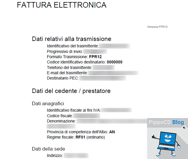 Fattura elettronica file pdf