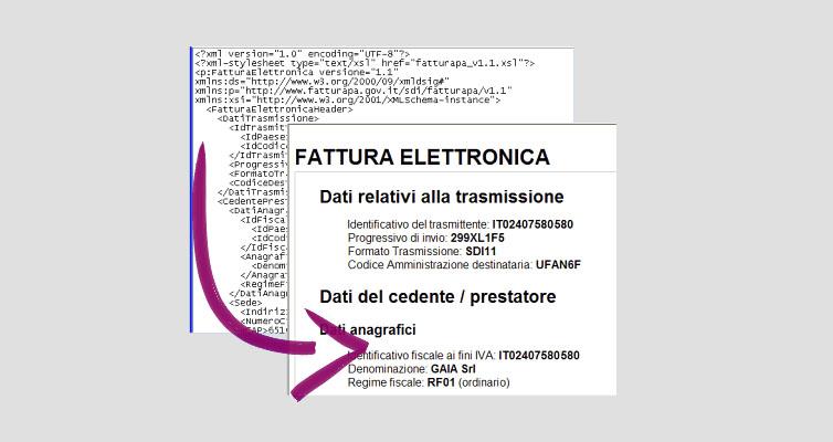 fattura elettronica convertire xml in pdf