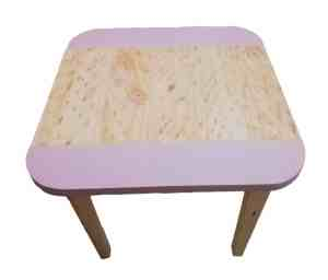 Square Wooden Table (Medium) with rounded corners and pink colour strips down 2 sides