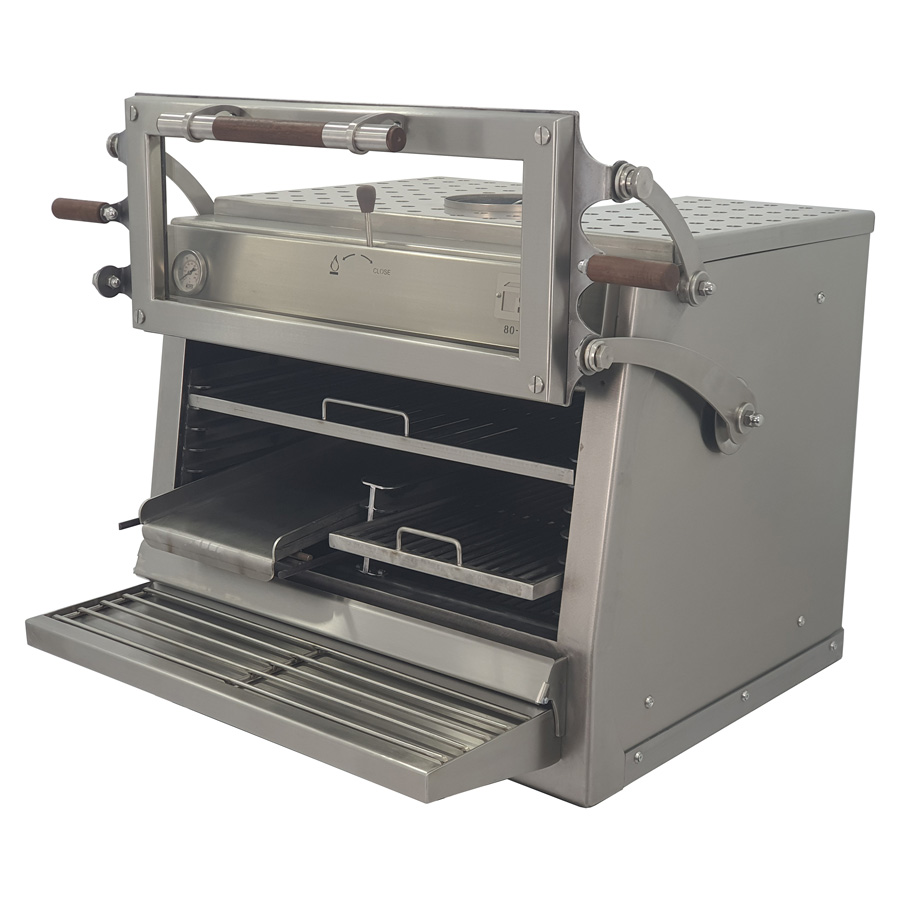 Pira charcoal oven 120 ED with half griddle grill and half rod grills