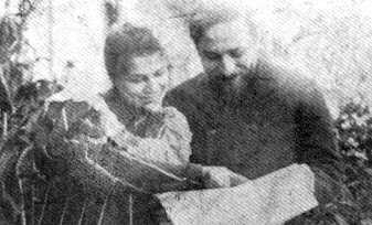 Luigi Pirandello e Antonietta sulla terrazza della casa in via Sistina, Roma