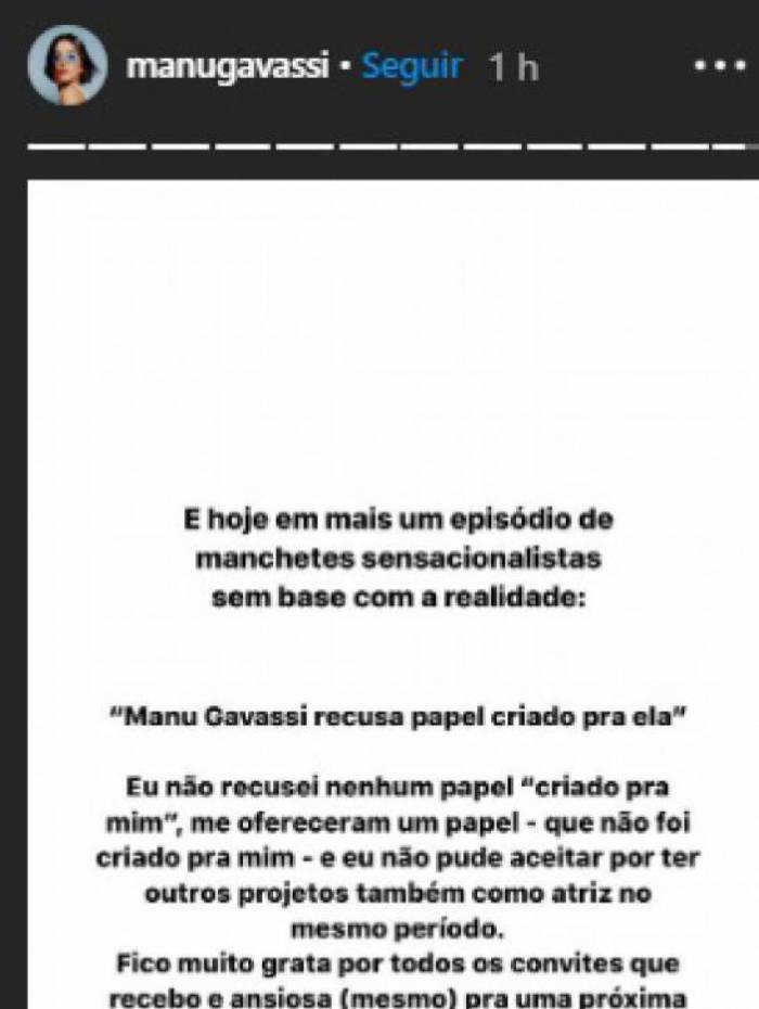 Manu Gavassi usa rede social para comentar convite da Globo - Reprodução