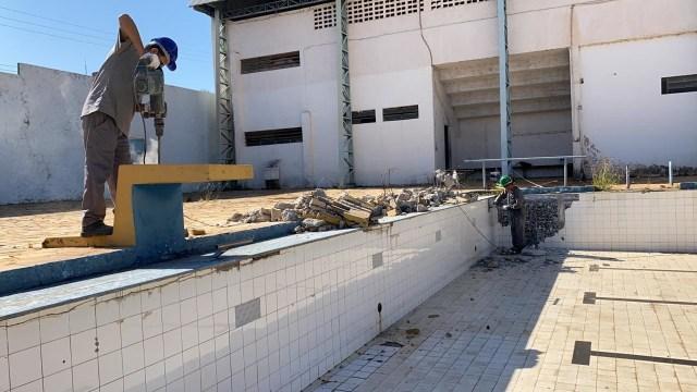 Uma foto da obra no Complexo Aquático de Piracicaba
