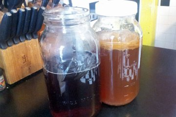 Jar of sweetened tea next to the existing batch of 'bucha