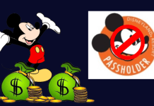 Mickey Mouse with bags of cash and coins next to Disneyland Annual Passholder logo that has been crossed out