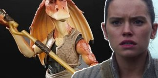 Jar Jar Binks with a superimposed photo of Rey to the right