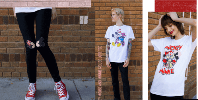 A woman wearing Black leggings with Mickey and Minnie, a person wearing a Valentines Minnie Kissing Mickey T-shirt, a woman wearing a Mickey and minnie valentines day t-shirt