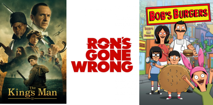 The King's Man Poster along with Ron's Gone Wrong logo and Bob's Burgers poster