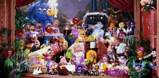 A cast photo of muppets from the original show
