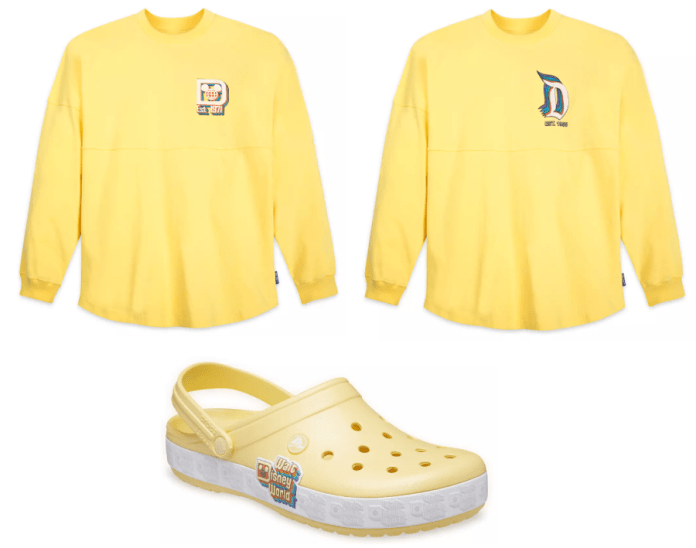 Yellow spirit Jerseys one with a Disneyland Logo and one with a Walt Disney World Logo. There is also a Croc shoe in the same color with Walt Disney World Logo