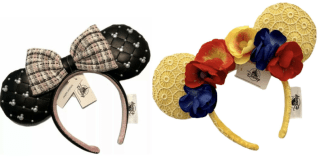 Black and pearl with tweed bow mouse ears and yellow mouse ears with embroidered circles and flowers across the headband