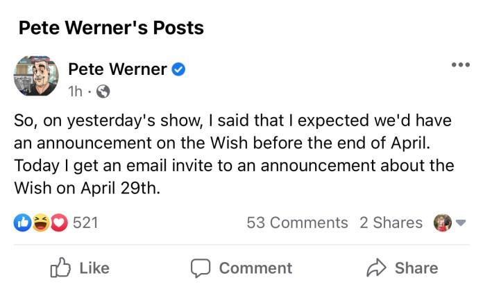 Disney Wish Announcement