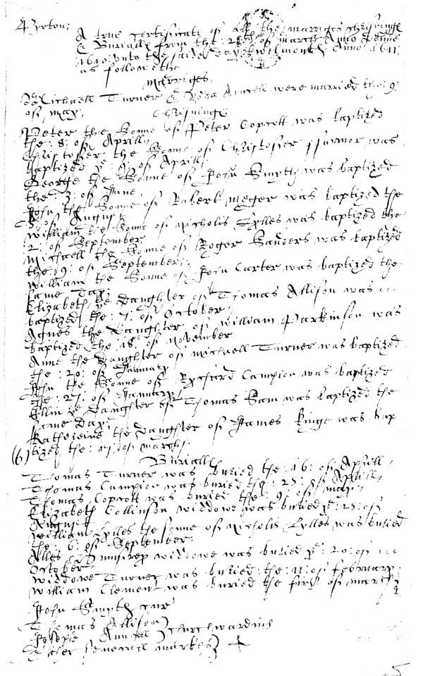 Example from the Parish Register - Pirton Bishops Transcript, 1610