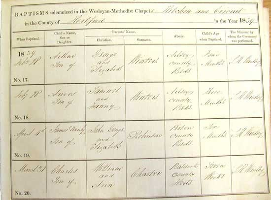 An entry from the baptism register of Brand Street Wesleyan Church in Hitchin. This document is kept at HALS reference number NM4/52.