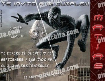Invitación cumpleaños Spiderman #03-0