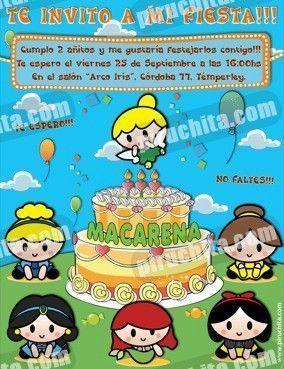 Invitación cumpleaños Princesas Disney Baby #08-0