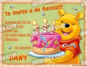 Invitación cumpleaños Winnie Pooh #09-0