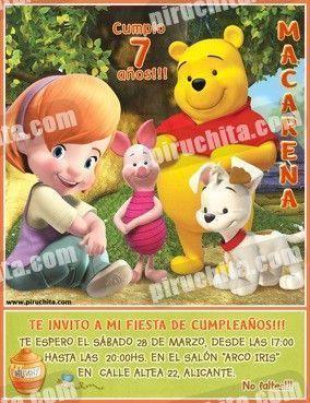 Invitación cumpleaños Winnie Pooh #14-0