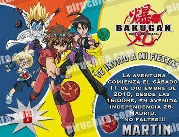 Invitación cumpleaños Bakugan #6-0