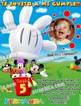 Invitación cumpleaños La Casa de Mickey #05-0