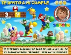 Invitación cumpleaños Mario Bros #02-0