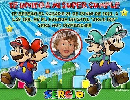 Invitación cumpleaños Mario Bros #09-0