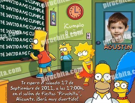 Invitación cumpleaños Los Simpsons #01-0