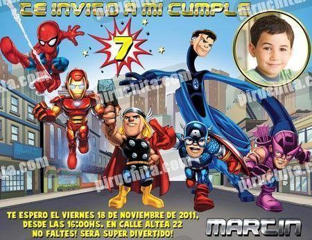Invitación cumpleaños Super Heroes Squad #01-0