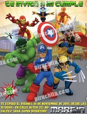 Invitación cumpleaños Super Heroes Squad #03-0