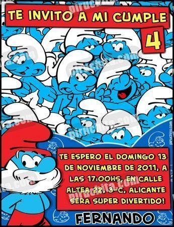 Invitación cumpleaños Los Pitufos #08-0