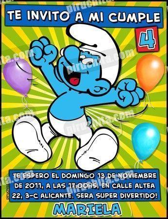 Invitación cumpleaños Los Pitufos #11-0