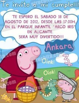 Invitación cumpleaños Peppa Pig #06-0