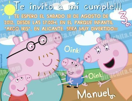 Invitación cumpleaños Peppa Pig #07-0