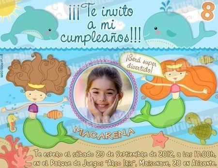 Invitación cumpleaños Sirenas #05-0