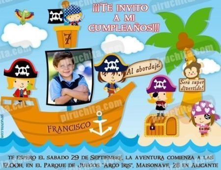 Invitación cumpleaños Piratas #01-0