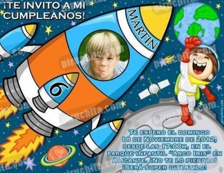 Invitación cumpleaños Espacio y astronautas #01-0