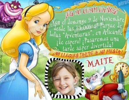 Invitación cumpleaños Alicia en el País de las Maravillas #02-0