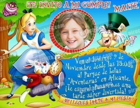 Invitación cumpleaños Alicia en el País de las Maravillas #06-0