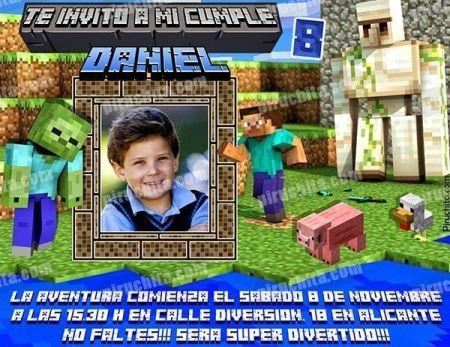 Invitación cumpleaños Minecraft #02-0