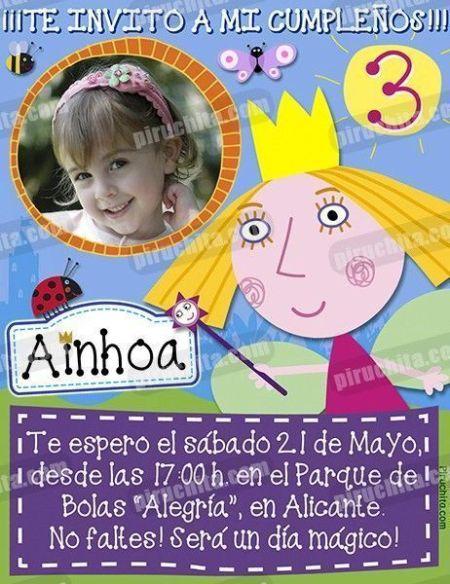 Invitación cumpleaños El pequeño reino de Ben y Holly #03-0