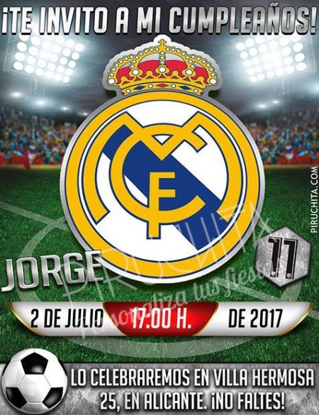 Invitación cumpleaños Fútbol - Real Madrid   Digital Imprimible