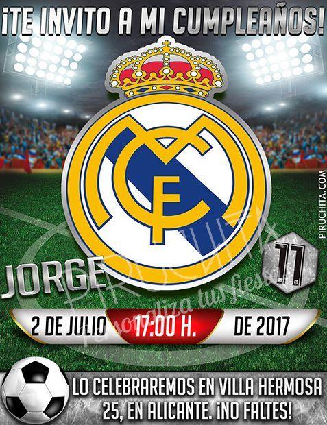 Invitacion Cumpleanos Futbol Real Madrid Digital Imprimible