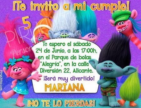 Invitación cumpleaños Trolls #03 | Digital Imprimible