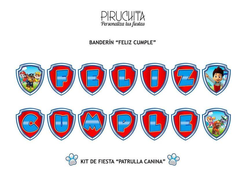 Decoración fiesta de cumpleaños La Patrulla Canina para imprimir
