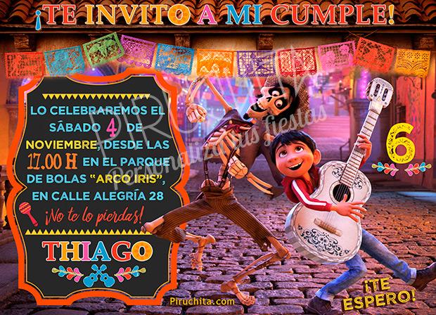 Invitación cumpleaños Coco #01   Digital Imprimible