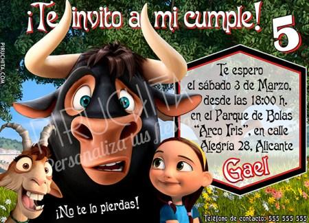 Invitación cumpleaños Ferdinand #01 | Digital Imprimible