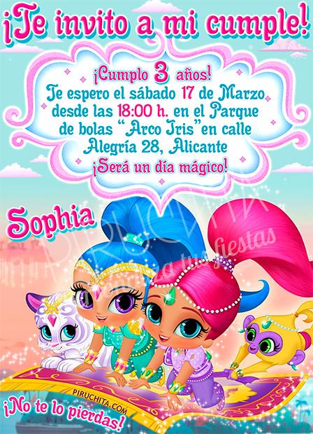 Invitación cumpleaños Shimmer & Shine #01   Digital Imprimible